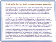 If Advise for Buying a Health coverage insurance Master plan