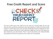 Free Credit Report and Score