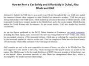How to Rent a Car Safely and Affordably in Dubai, Abu Dhabi and UAE
