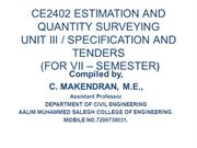 CE2402 ESTIMATION AND QUANTITY SURVEYING STUDY MATERIAL AS PER ANNA UN