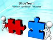 Team Assembling Jigsaw Puzzles Business Concept PowerPoint Templates P
