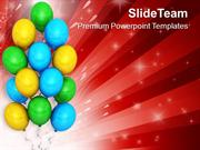 Colored Balloons For Party Celebration PowerPoint Templates PPT Themes