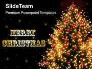 Realistic Golden Christmas Tree PowerPoint Templates PPT Themes And Gr
