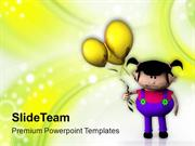 Cute Girl With Balloon PowerPoint Templates PPT Themes And Graphics 05