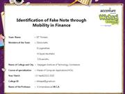 Identification of Fake Note through Mobility in Finance