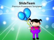 Girl Having Fun With Balloons PowerPoint Templates PPT Themes And Grap