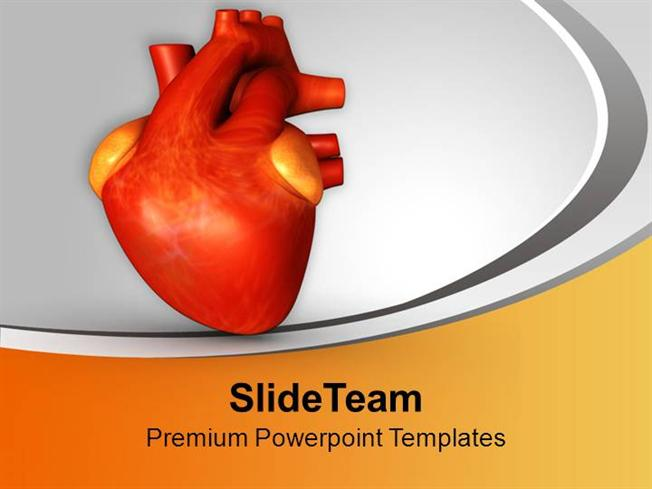 3d Illustration Of Human Heart Health Powerpoint Templates Ppt The
