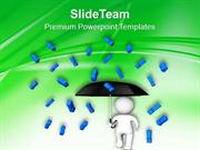 3d Man With Umbrella Exclamation Symbol PowerPoint Templates PPT Theme