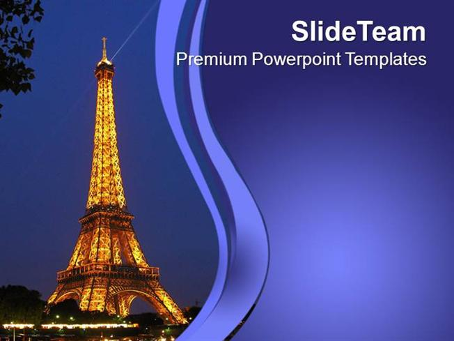 landmark of eiffel tower paris powerpoint templates ppt themes and, Modern powerpoint