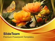Summer Flowers With Butterfly Nature PowerPoint Templates PPT Themes A