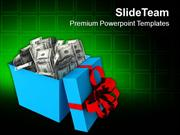 Surprise Gift With Dollar Money PowerPoint Templates PPT Themes And Gr
