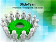 Teamwork Concept In Gear Mechanism PowerPoint Templates PPT Themes And