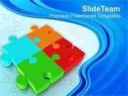 Interconnected Four Jigsaw Puzzles Business Strategy PowerPoint Templa
