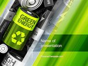 Green Energy Battery PowerPoint Template by PoweredTemplate.com