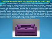 How to Choose an ideal Very small Space Sectional Sofa