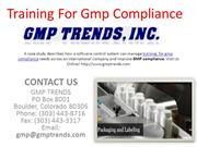 Training for gmp compliance