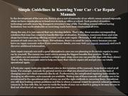 Simple Guidelines in Knowing Your Car - Car Repair Manuals