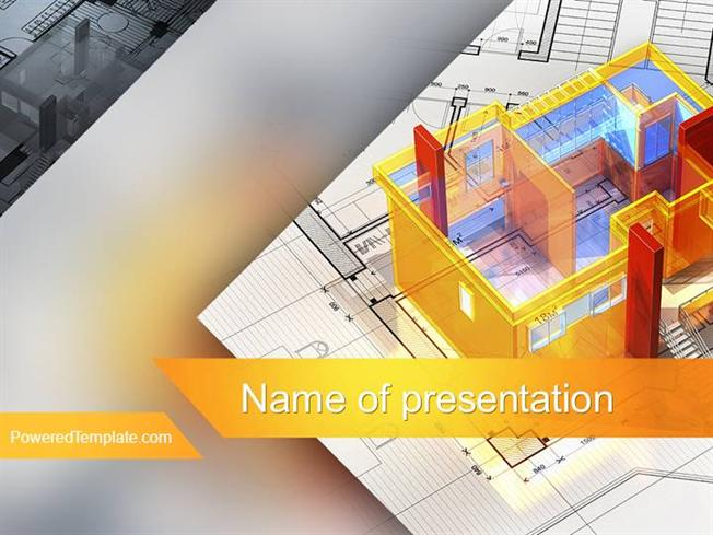 3d house draft powerpoint template by poweredtemplatecom authorstream