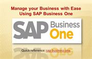 Manage your Business with Ease Using SAP Business One