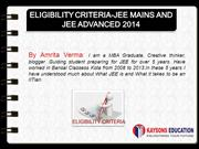 ELIGIBILITY  AND  MARKING CRITERIA FOR JEE MAINS