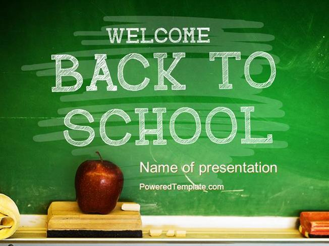 school chalkboard powerpoint template by poweredtemplate com