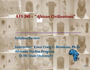 AFS240-601 Syllabus Review Fall 2013