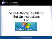 VPN Authority Installer & Set Up Instructions For Windows 7