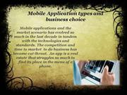 Mobile Application types and business