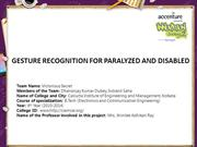 GESTURE RECOGNITION FOR PARALYZED AND DISABLED