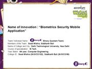 Biometrics Security Mobile Application