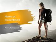 Woman Hiker with Backpack PowerPoint Template by PoweredTemplate.com