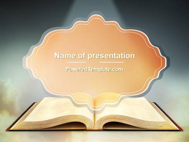 Open Bible With Light Rays Powerpoint Template By Poweredtemplate