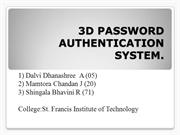 3D PASSWORD AUTHENTICATION SYSTEM