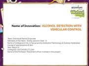 ALCOHOL DETECTION WITH                       VEHICULAR CONTROL
