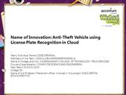 Anti-Theft Vehicle using License Plate Recognition in Cloud