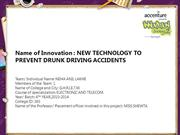 NEW TECHNOLOGY TO PREVENT DRUNK DRIVING ACCIDENTS