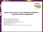 Smart ATM Money Withdraw Using Smart phone Application