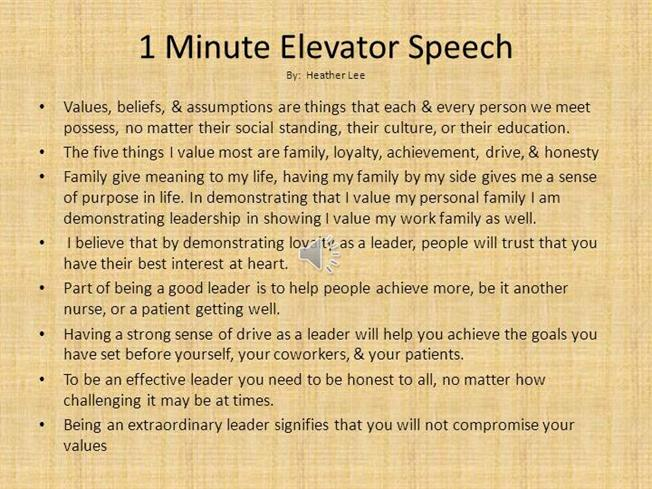 1 Minute Elevator Speech |Authorstream