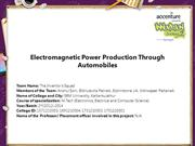 Electromagnetic Power Production Through Automobiles