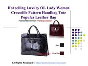 Hot selling Luxury OL Lady Women Crocodile Pattern Handbag Tote Popula