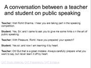 A conversation between a teacher and student on public speaking