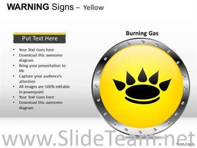 Burning Gas As Warning Signs Powerpoint Diagram Powerpoint Diagram