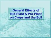 General Effects of Bio-Plant & Pro-Plant Bio-fertilizers - Part A