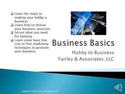 Business Basics- Hobby to Business- Narrated