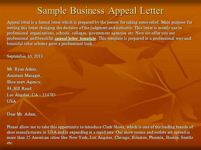 Sample Business Appeal Letter  authorSTREAM