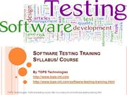 13-09-2013- Software Testing Training Syllabus Course