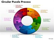 BUSINESS TEAMWORK CONCEPT IN CIRCULAR JIGSAW PUZZLE PROCESS 10 STAGES