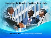 Strategies To Resolve Conflicts Peacefully