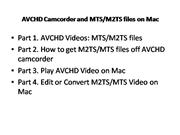AVCHD Camcorder and MTS/M2TS files on Ma