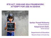 RTE Act, 2009 and SSA Framework